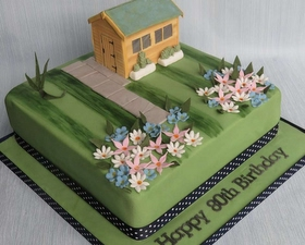Garden shed cake topper