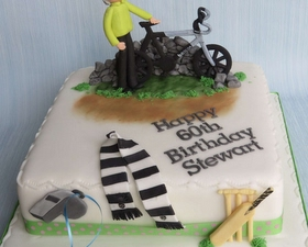 Cycling, cricket and Footbal team supporters cake