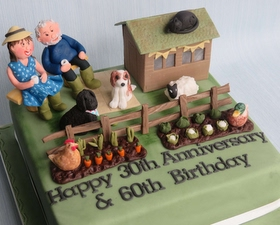 Garden shed cake +allotment, animals and personalised figures