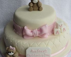 2 tier Christening cake. Little teddy toppers, quilting and messsage plaque