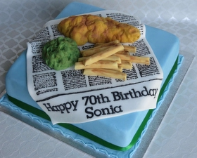 Fish and Chips in newspaper cake