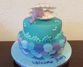 Baby mermaid baby shower cake