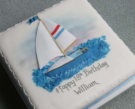 2D yacht cake topper