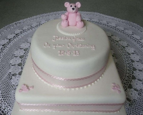 2 tier Christening cake, pink teddy and little hearts