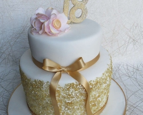 18th Birthday cake -Gold sequin cake