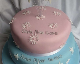 2 tier pink and blue Christening cake