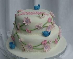 2 tier Christening cake, bluebirds and trailing blossom